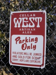 Cellar West parking sign